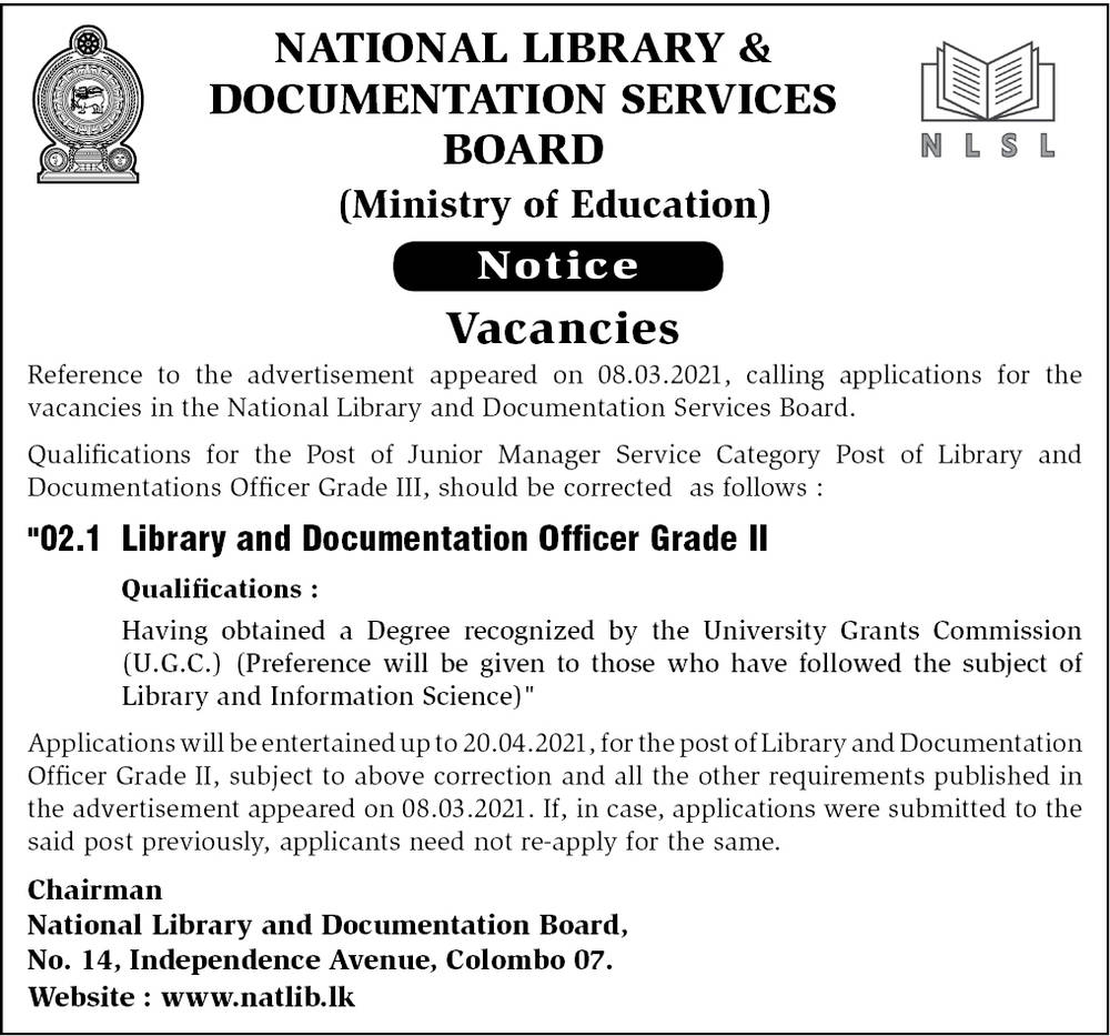 Library and Documentation officer Grade II
