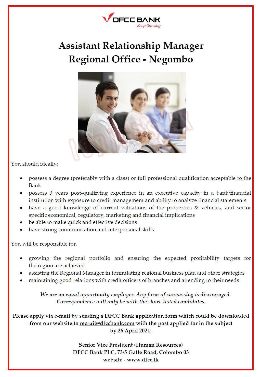 Assistant Relationship Manager - Regional Office - Negombo