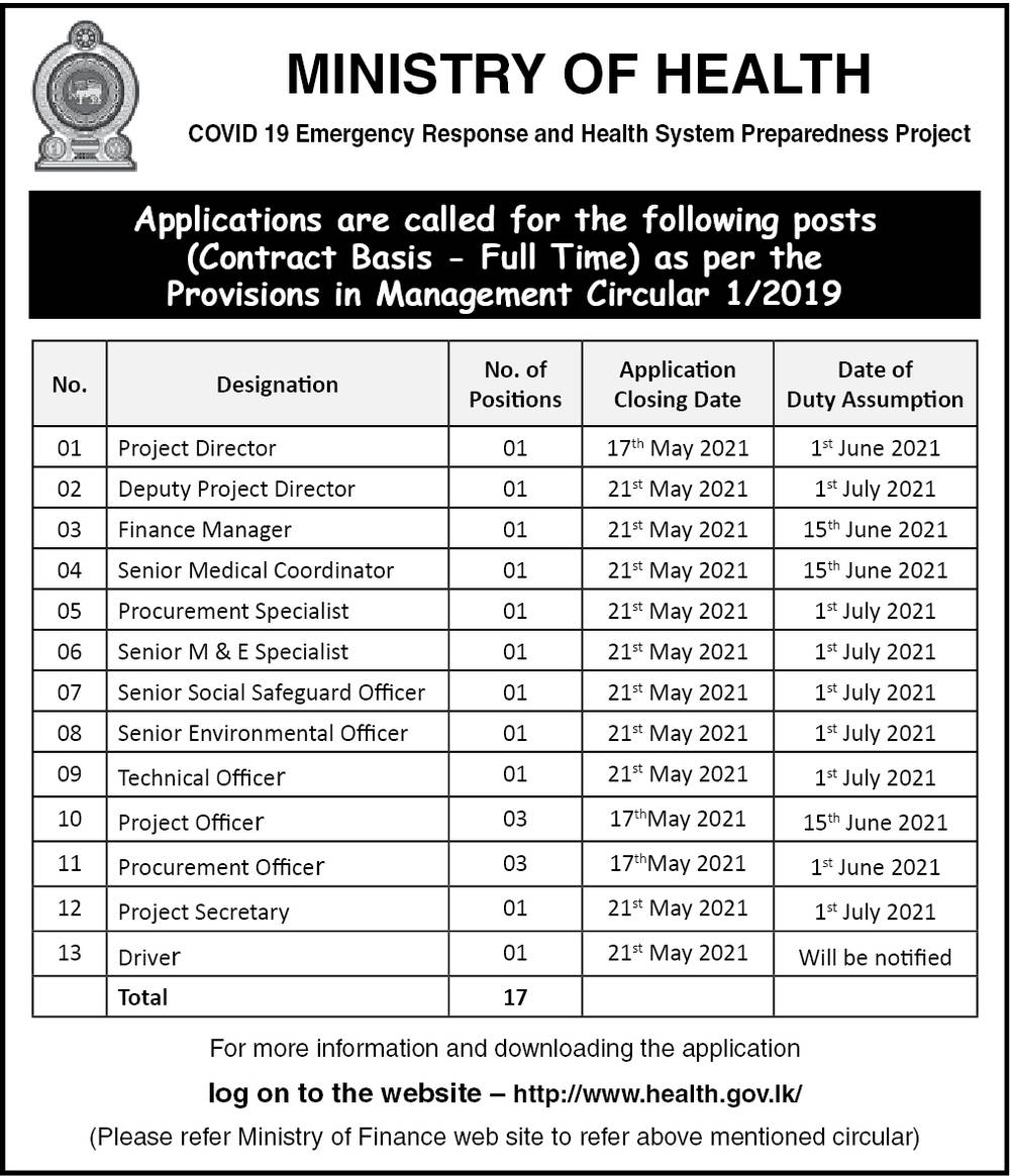 Finance Manager, Technical Officer, Project Manager,  Project Officer and 13 vacancies
