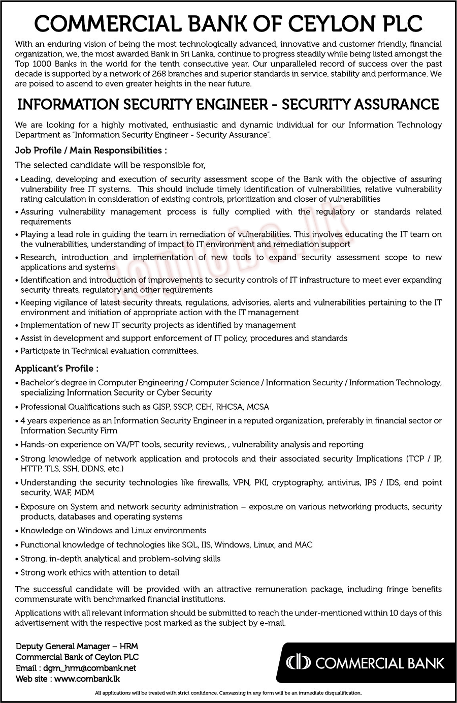 Information Security Engineer - Security Assurance