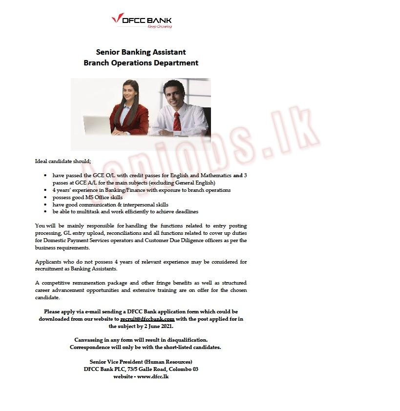 Senior Banking Assistant - Branch Operations Department