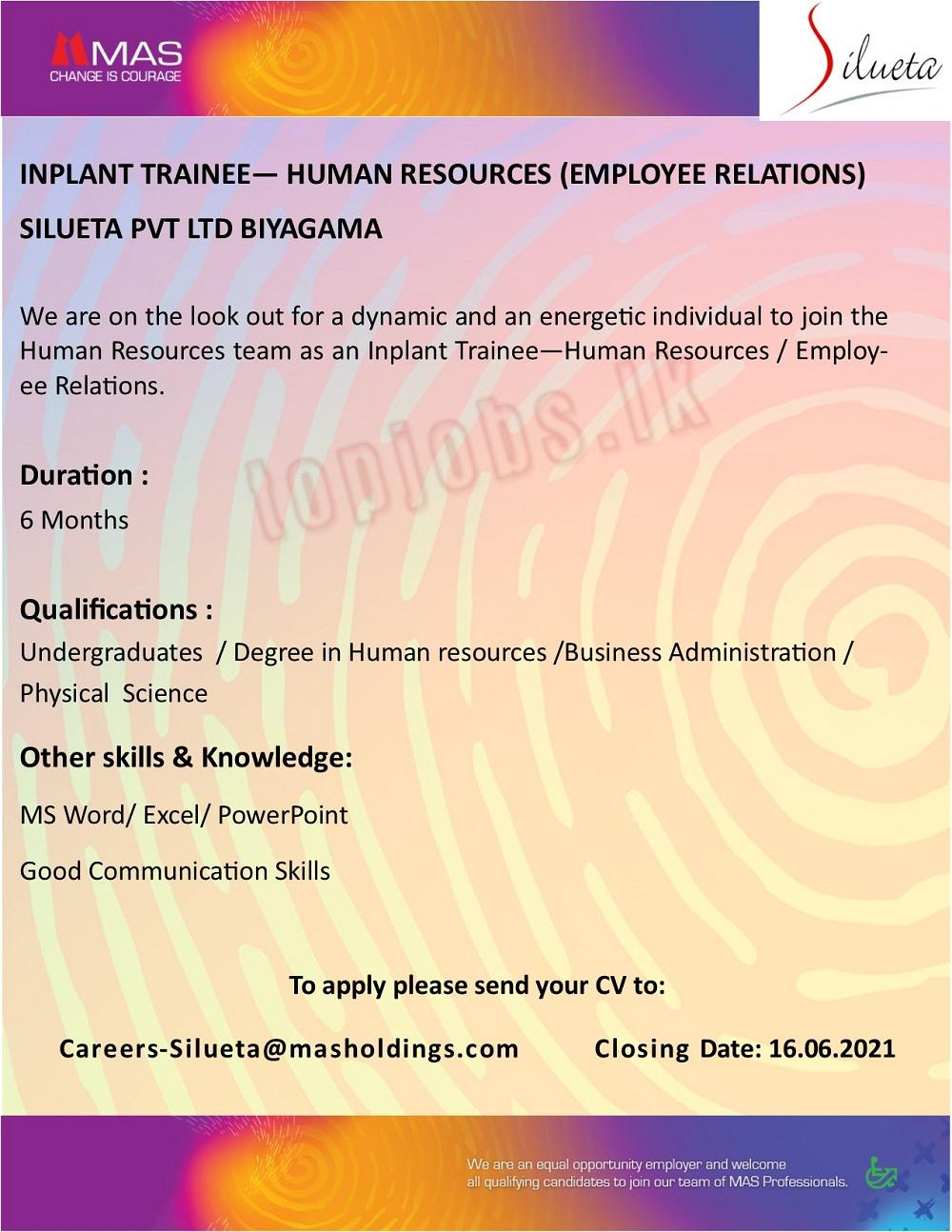Inplant Trainee - Human Resources ( Employee Relations)
