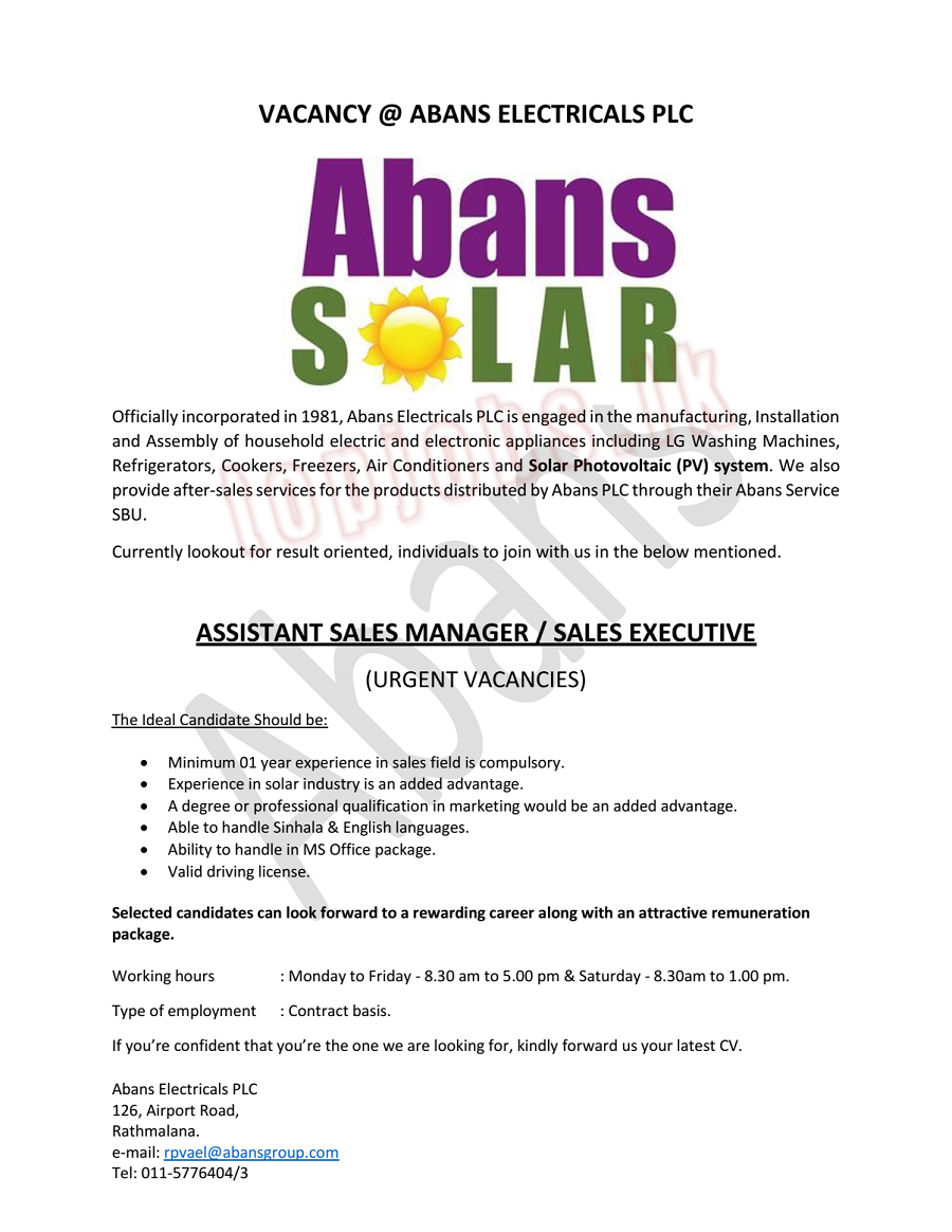 Assistant Sales Manager / Sales Executive