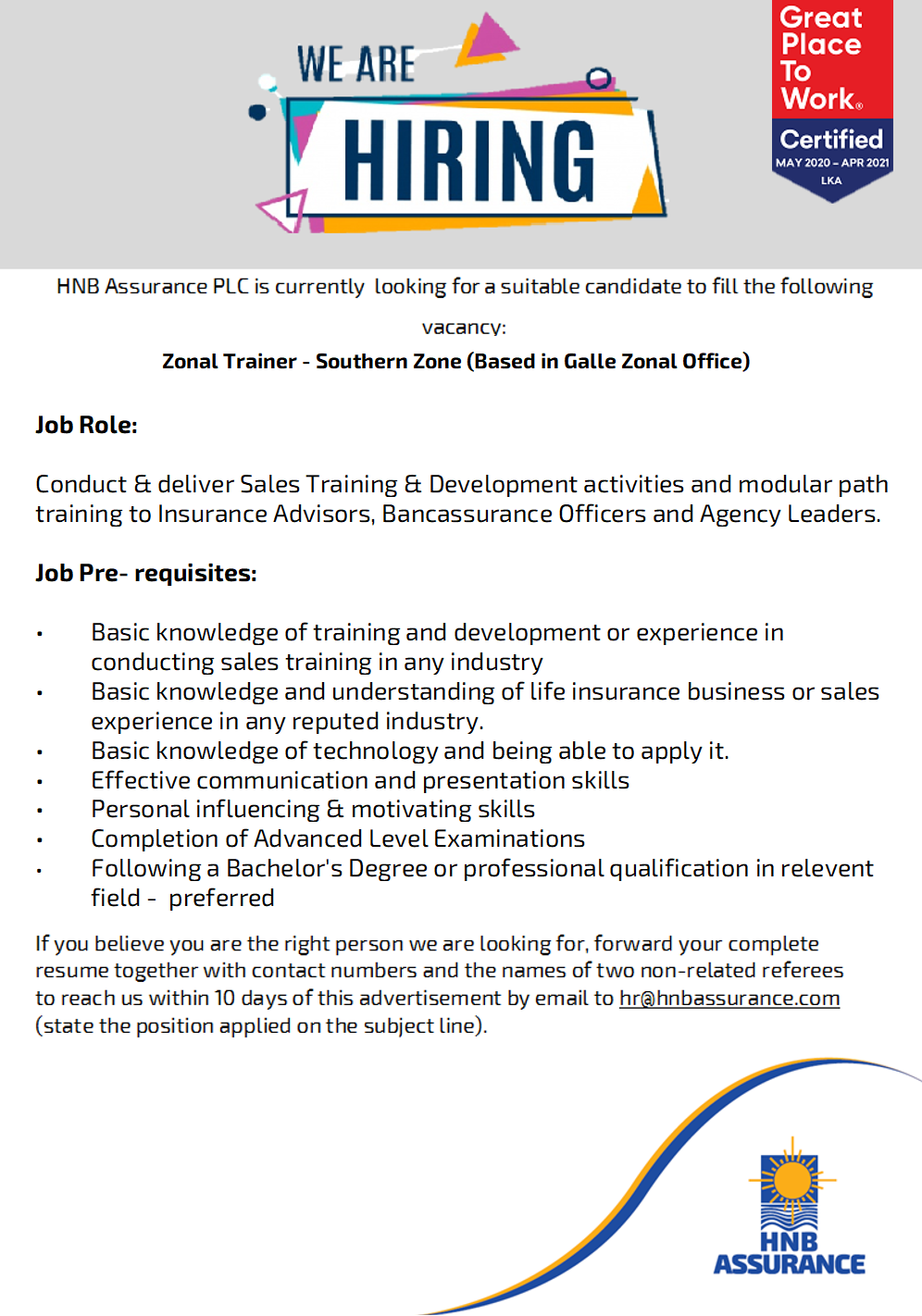 Zonal Trainer - Southern Zone