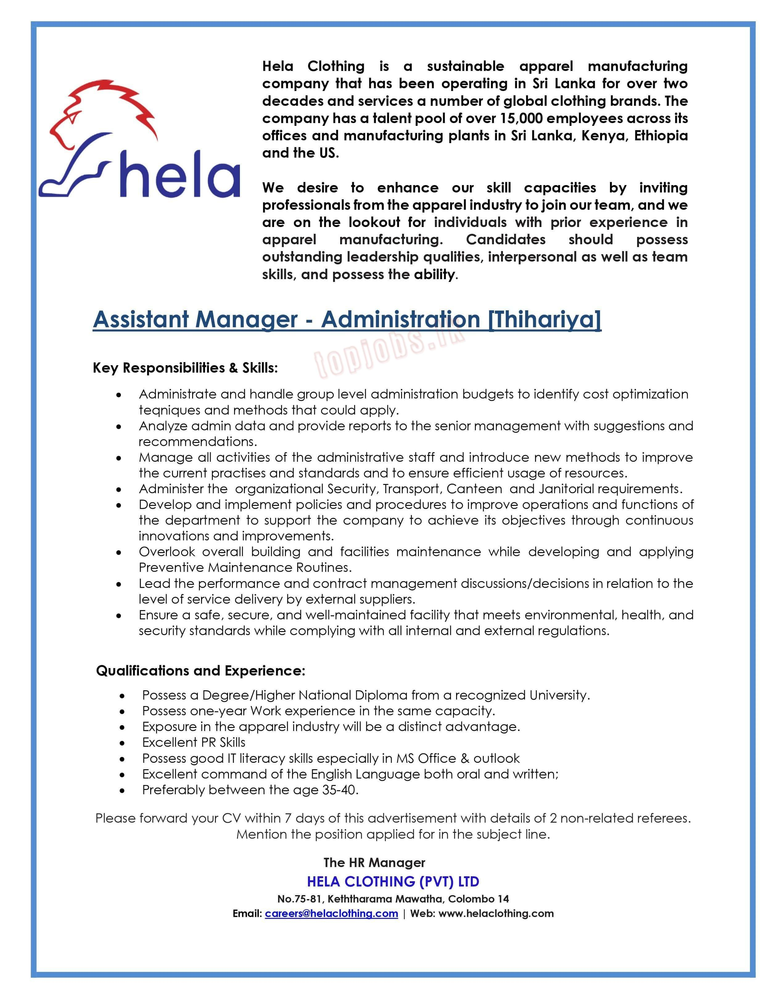 Assistant Manager - Administration [Thihariya]