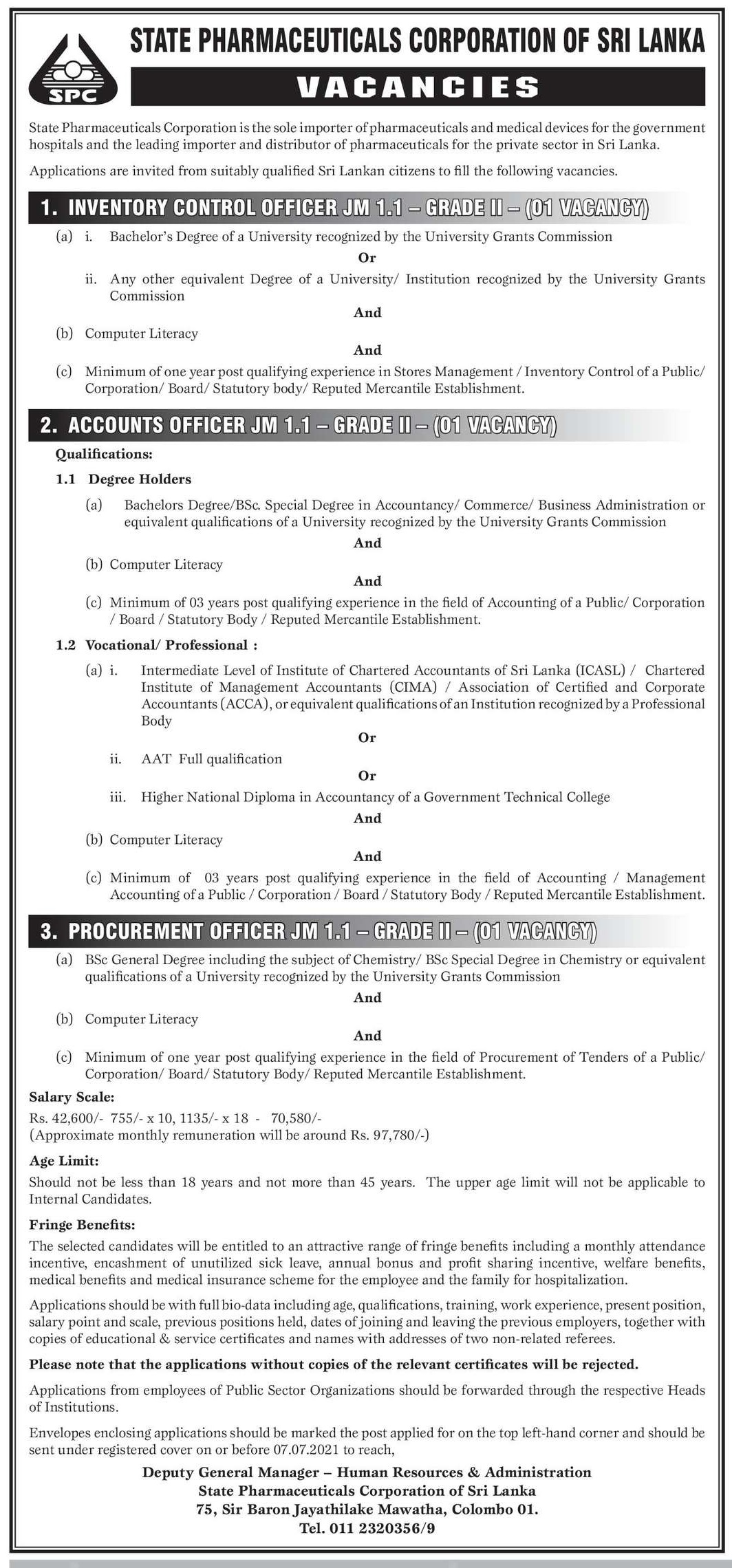 Inventory Control Officer, Accounts Officer, Procurement officer
