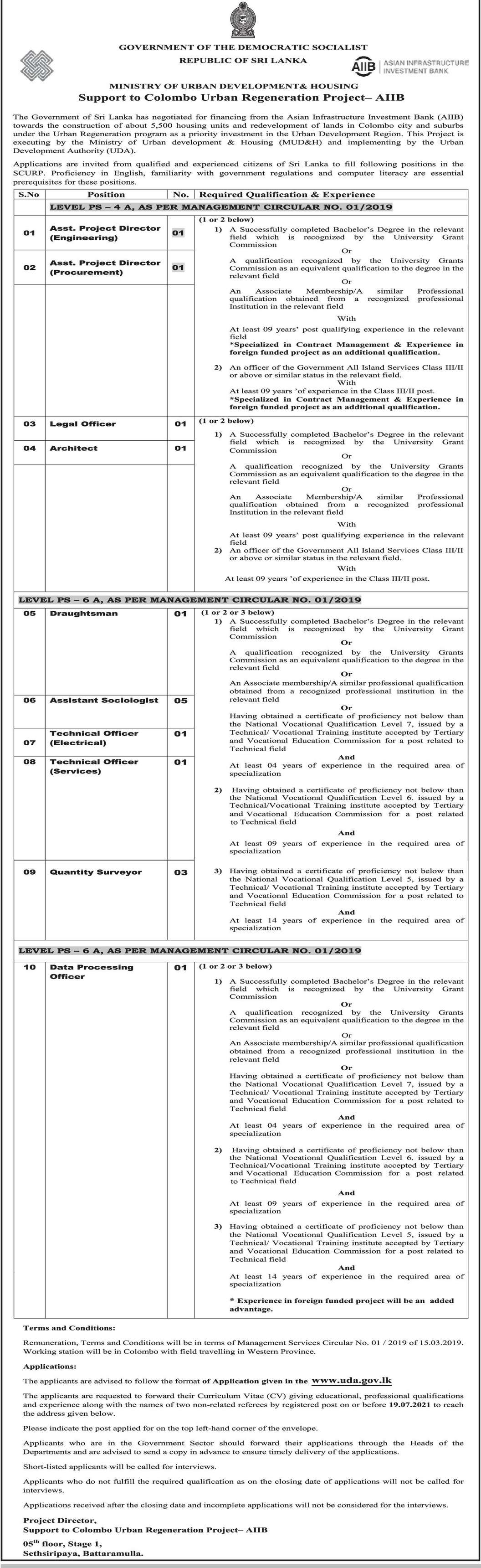 Assistant Project Director, Legal Officer, Architect, Draughtsman, Assistant Sociologist, Technical Officer, Quantity Surveyor, Data Processing Officer