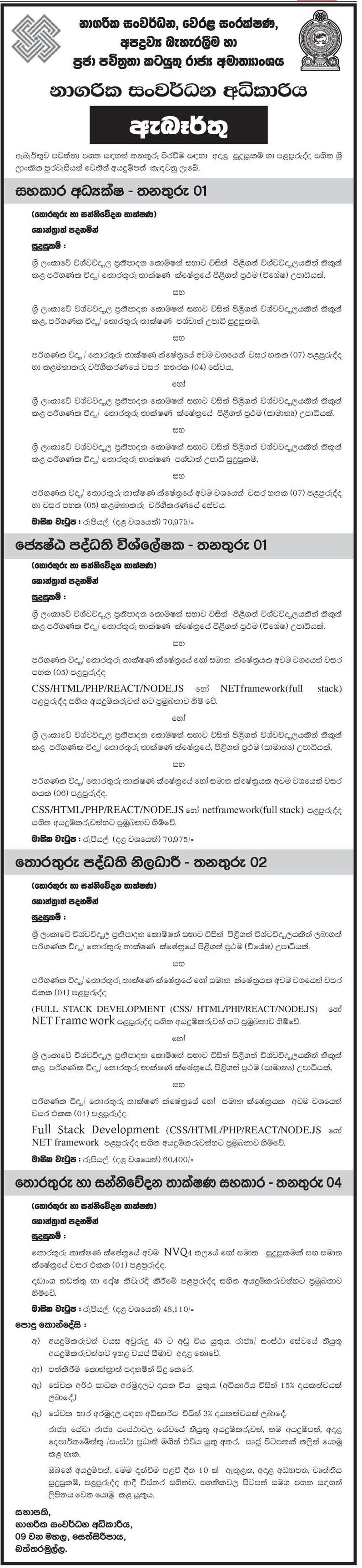 Assistant Director, Senior Systems Analyst, Information Systems Officer, Information and Communication Technology Assistant