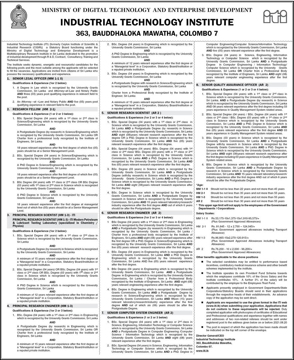 Senior Legal Officer, Research Scholar, Chief Research Scientist, Chief Research Engineer, Senior Research Scientist, Senior Research Engineer, Senior Computer Systems Engineer, Senior Quality Control Officer