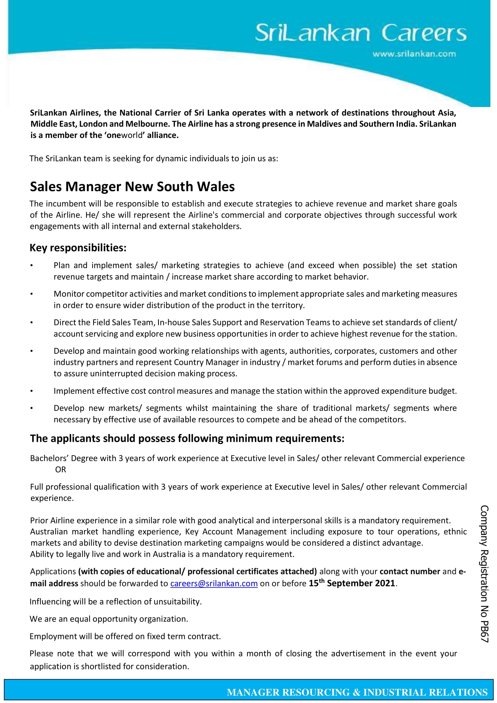 Sales Manager New South Wales