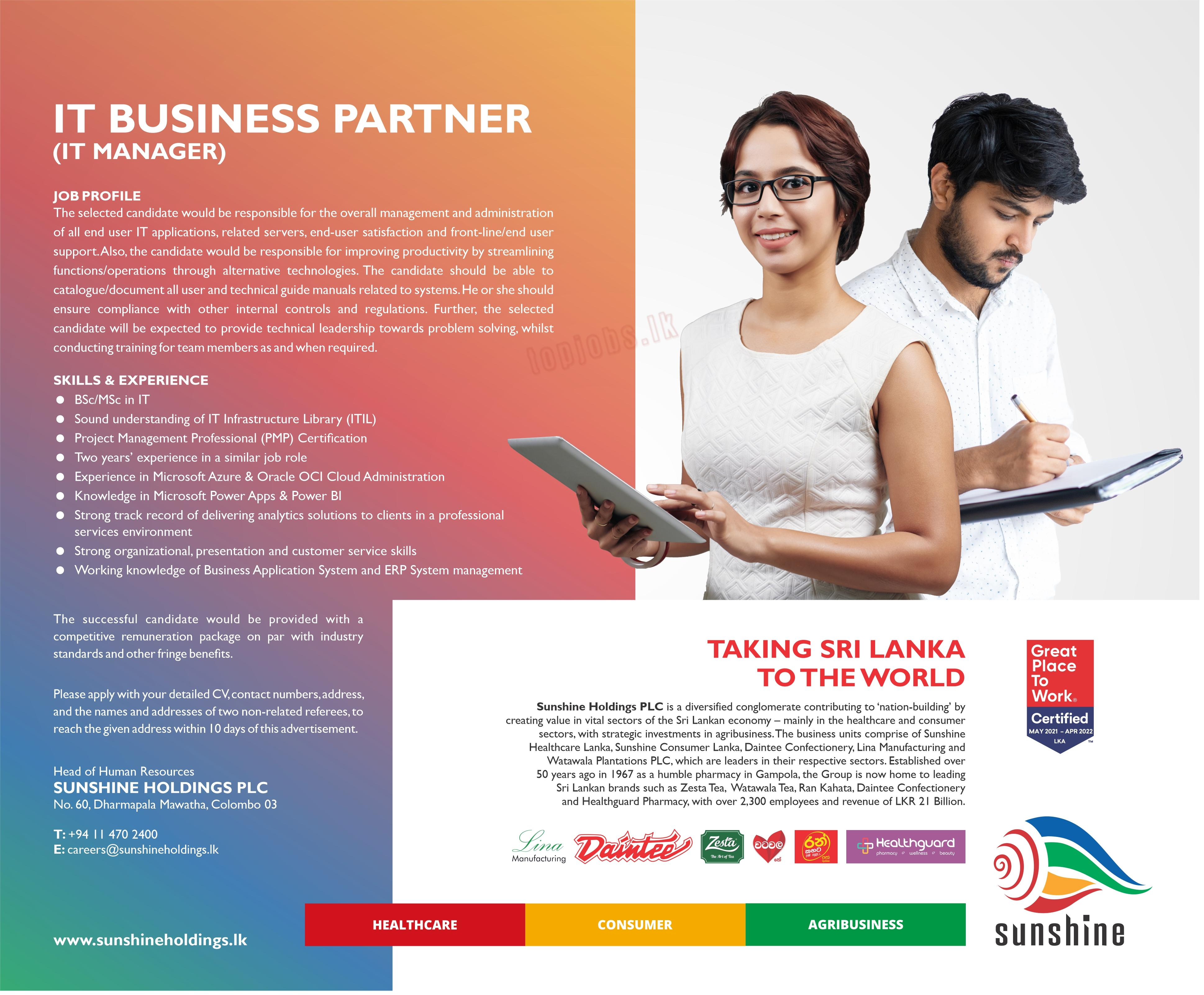 IT Business Partner (IT - Manager)