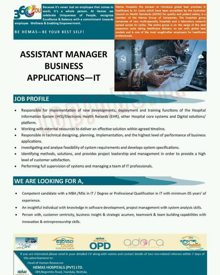 Assistant Manager Business Applications-IT