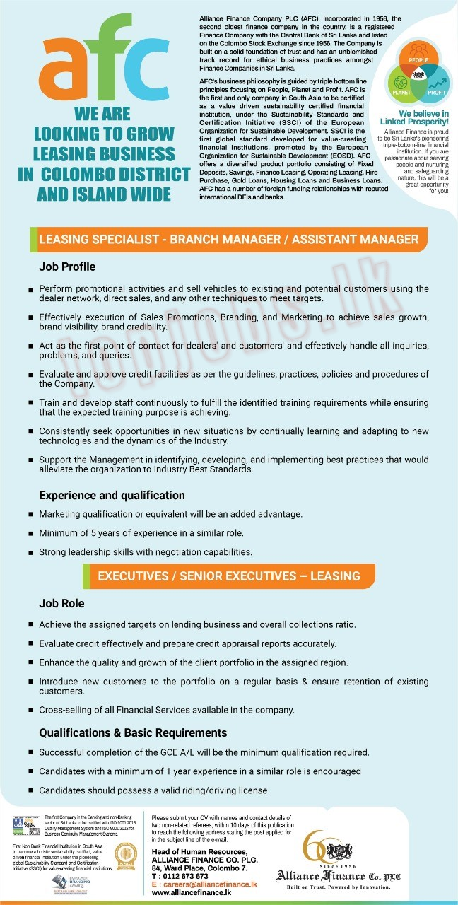 Leasing Specialist - Branch Manager/Assistant Manager / Executive/Senior Executive (Leasing)